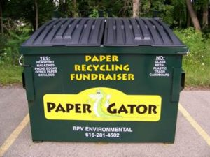 photo of paper gator collection container