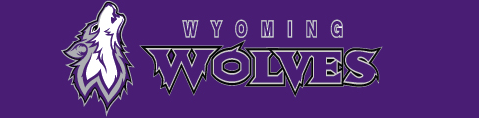 Image of Wyoming Wolves Logo with purple background